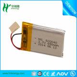 A bateria de íon de lítio recarregável do polímero do Li-íon embala 3.7V 650mAh