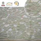 ヒマワリパターン刺繍のレースファブリック、緑の衣服材料の美しいデザインLn10034
