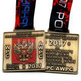 In lega di zinco su ordinazione la medaglia russa rettangolare del medaglione del premio di carnevale di sport dello smalto molle della pressofusione
