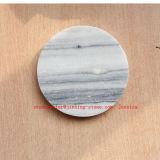 Ronda de mármol gris dirnk Coaster / Piedra posavasos para bebidas