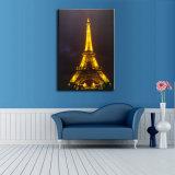 キャンバスの壁Arの上でついている卸し売りエッフェル塔の景色の油絵LED
