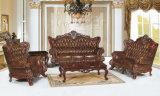 Sofá clásico del cuero de madera moderno de la sala de estar (UL-NSC097)
