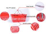Cesta plástica del supermercado de la nueva de los PP maneta material del metal