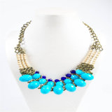 Monili acrilici della collana di modo dei branelli di nuovo tono blu di disegno