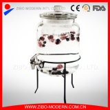 Tarro de cristal del jugo del dispensador de la bebida del tarro del alimento con el estante de cristal de la tapa y del metal, grifo del acero inoxidable