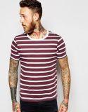 Maglietta a strisce rossa e bianca dello Spandex del cotone 5% di 95% degli uomini di disegno