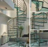 Anunció la escalera espiral de cristal/las escaleras espirales de cristal para el apartamento interior