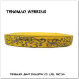 """1 de """" Gele Singelband van de Polyester van de Jacquard van de Bloem voor Decoratie"""