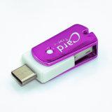 USB 3.1 e USB2.0, leitor de cartão de 2 in-1 micro SD (TF) para o Esperto-Telefone, MacBook e PC no roxo