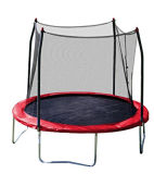 Rotes springendes Bett (Trampoline) mit 4 Beinen und Sicherheits-Gehäuse
