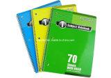 Livro de exercício do estudante dos artigos de papelaria do escritório do caderno espiral de três cores