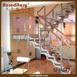 屋内見開き図版の縦桁の鋼鉄木製のまっすぐな階段(SJ-H847)