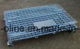 Recipiente dobrado Stackable do engranzamento de fio de aço