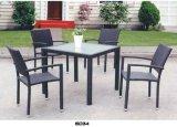 Vendita stabilita della mobilia del PE del sofà di vimini nero esterno del rattan