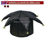 Cappello Sequined del giullare del nero capo accessorio del cappello dei costumi (C1042)