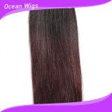 유행하는 토우 색깔 Omber 인간적인 똑바른 Remy 머리 연장