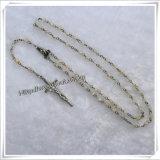 Il rosario religioso con la glassa colorata bianca di 4mm borda il punto: Io-Cr105
