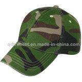洗浄された緑のCamoの綿のあや織りのスポーツの野球帽(TMB080)