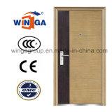 Portes en acier de vente populaires de couleur en métal extérieur en bois de Securty (W-S-142)