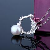 Collana d'acqua dolce del pendente del gatto della perla dell'argento sterlina delle donne 925