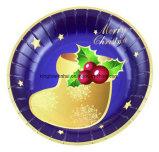 祝祭のためのクリスマスの創造的で使い捨て可能な習慣によって印刷される紙皿