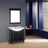 Vanità su ordinazione commerciale di legno diritta della stanza da bagno del pavimento con lo specchio