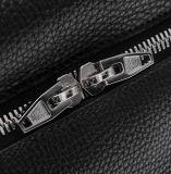 Мешок Backpack школы мешка компьтер-книжки кожи с сохранённым природным лицом черноты верхнего сегмента OEM полный
