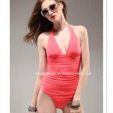 빨간 한 조각 형식 여자 수영복