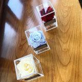주문을 받아서 만들어진 명확한 아크릴 1 로즈 포장 플렉시 유리 꽃 상자
