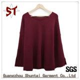 Chandail de collet rond tricoté bon marché simple de mode de dames en gros grand