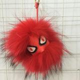 Il nuovo mostro della sfera della pelliccia del Raccoon di colore 100%Genuine di modo fa la pelliccia POM Keychain dei giocattoli della pelliccia
