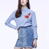 형식 여자 여가 호리호리한 빈 뒤 줄무늬 자수 t-셔츠 블라우스