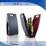 Portador decorativo de cuero llano negro del vino de la novedad solo (5040R2)