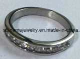 Ring van CZ van het Roestvrij staal van juwelen de Ring Ingelegde