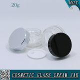表面クリームのための20ml装飾的な透過ガラス瓶