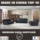 Ledernes Sofa 1+2+3 mit fester Rückseite