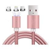 3 em 1 sincronização trançada do cabo do USB do nylon para o iPhone, Android, tipo C