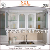 Gabinete de cozinha branco popular e simples do PVC do estilo do abanador