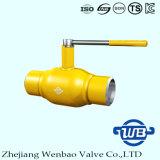 Zhejiang totalmente soldada A106 válvula de bola con mango para el gas