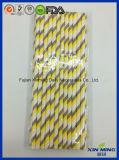 Paille de papier rayé de Gree de jaune de décoration d'usager