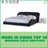 현대 우아한 침실 세트 나무로 되는 가죽 침대