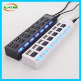Interruptor independente 7 portas de alta velocidade LED Light USB Hub