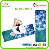 Estera lavable de la yoga de la flor de la máquina respetuosa del medio ambiente azul mágica de Confortable
