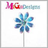 Pieu terrible bleu de fileurs de vent en métal de fleur de paon