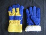 L'hiver acrylique Glove-3085 de garniture de vache de paume bleue de cuir fendu