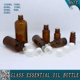 Bouteille d'huile essentielle en verre ambaré avec bouchon en plastique blanc pour enfant
