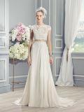 Französische Spitze Appliques Schlüsselloch zweiteiliges Boho-Chic Hochzeits-Kleid (Dream-100083)
