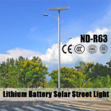 Réverbères solaires en aluminium de batterie au lithium du matériau 12V 30ah de corps de lampe avec de doubles bras