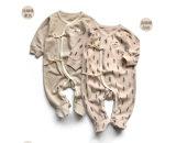 Romper feito malha impresso do bebê do bebê do algodão Romper orgânico