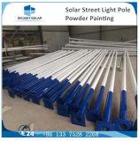 Lâmpada de rua solar galvanizada Octagonal branca morna do diodo emissor de luz de Pólo Bridgelux